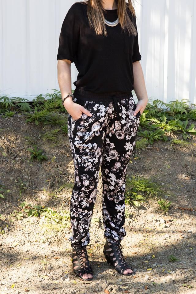 Cindy ferland, Dynamite, H&M, Globo Chaussures,  Fay with Love, eBay Canada, Karina Charbonnier, fleur, tendance fleuri, legging, jeans, pantalon ample, lookbook, 3looks, ootd, mode, hiver, urban planet