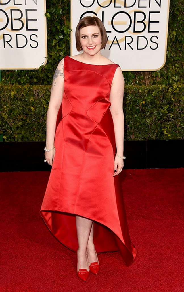 lena dunham, golden globes, tapis rouge, best outfit, worst outfit, vedette, star, chic, glam, girls