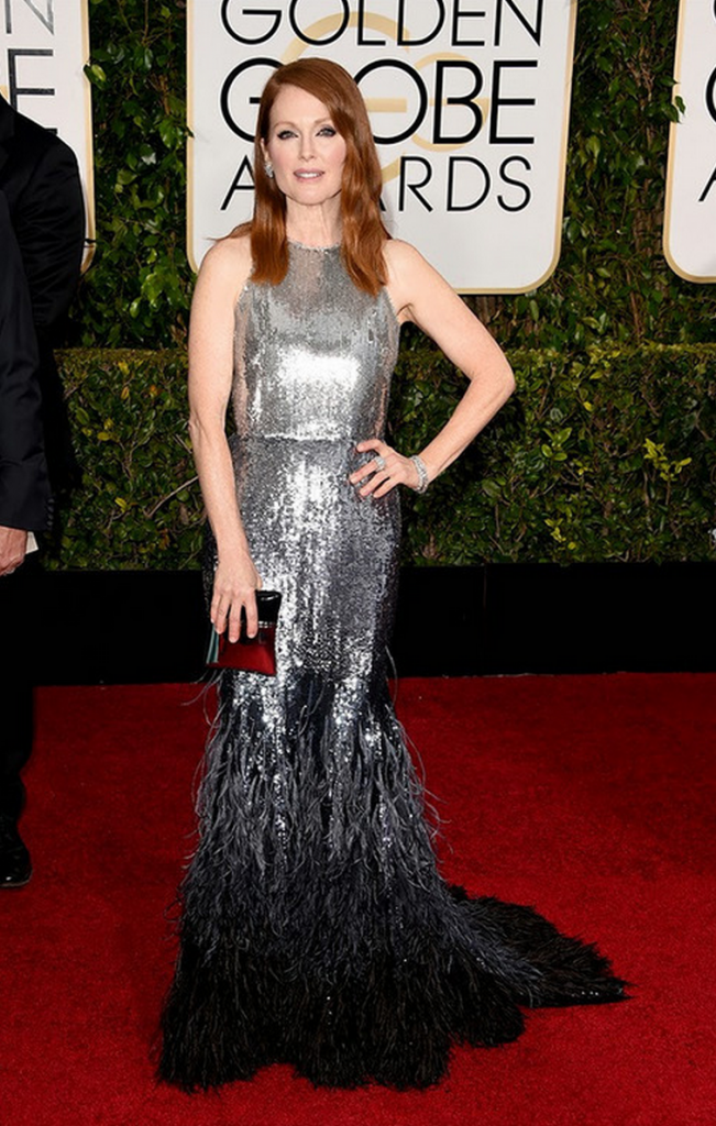 golden globes, tapis rouge, best outfit, worst outfit, vedette, star, chic, glam, julianne moore