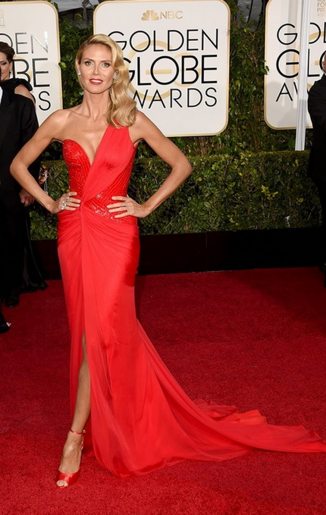 heidi klum, golden globes, tapis rouge, best outfit, worst outfit, vedette, star, chic, glam