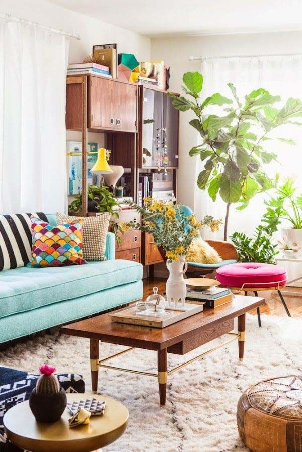 Un appartement tendance boho chic le cahier - Salon boho chic ...
