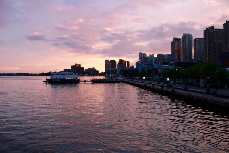 Toronto harbour at sunset