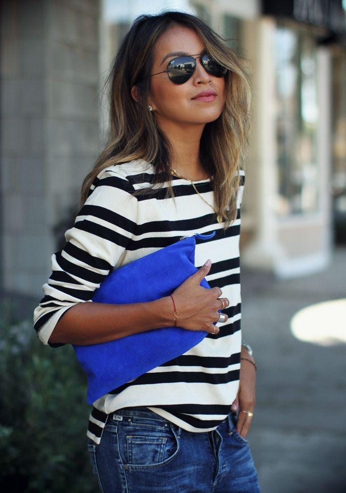 bleu cobalt mode vêtements agencer chemisier chaussure