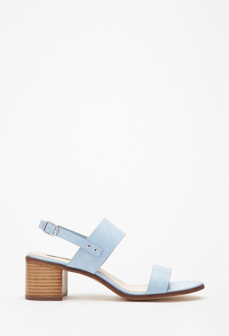 sandales, bleu, talon moyen, talon, soulier