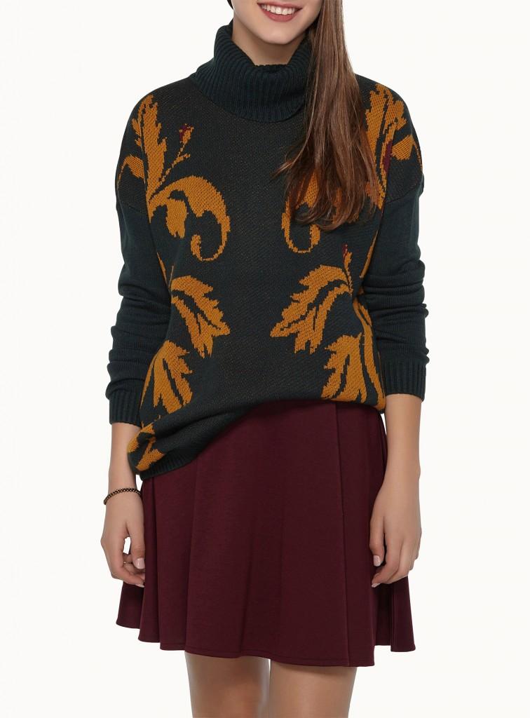 tricot, simons, imprimé, col roulé, automne, confortable