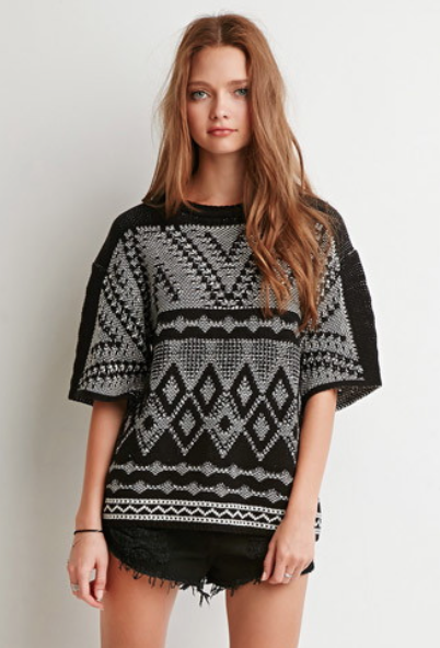 tricot, original, imprimé, tribaux, manches courtes, automne