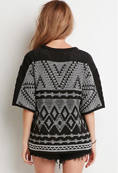 tricot, manches courtes, automne, imprimés, tribaux