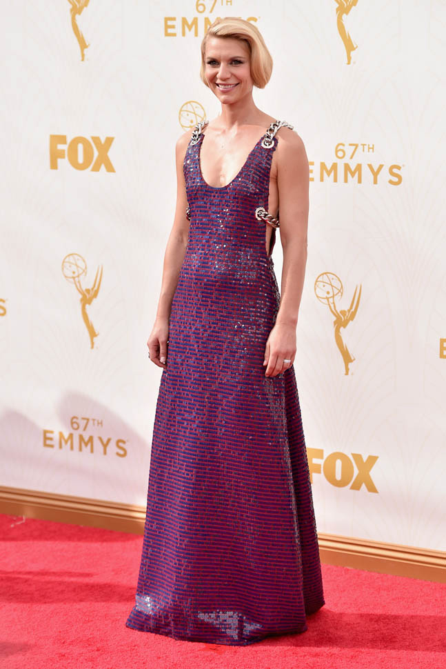 Clare Danes, tapis rouge, emmys 2015, flops, robe