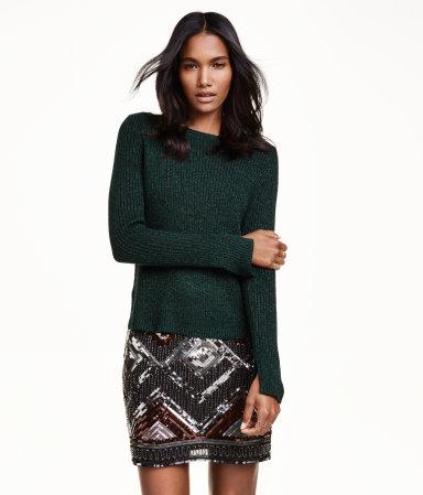 tricot, vert forêt, h&m, automne, confort, jupe