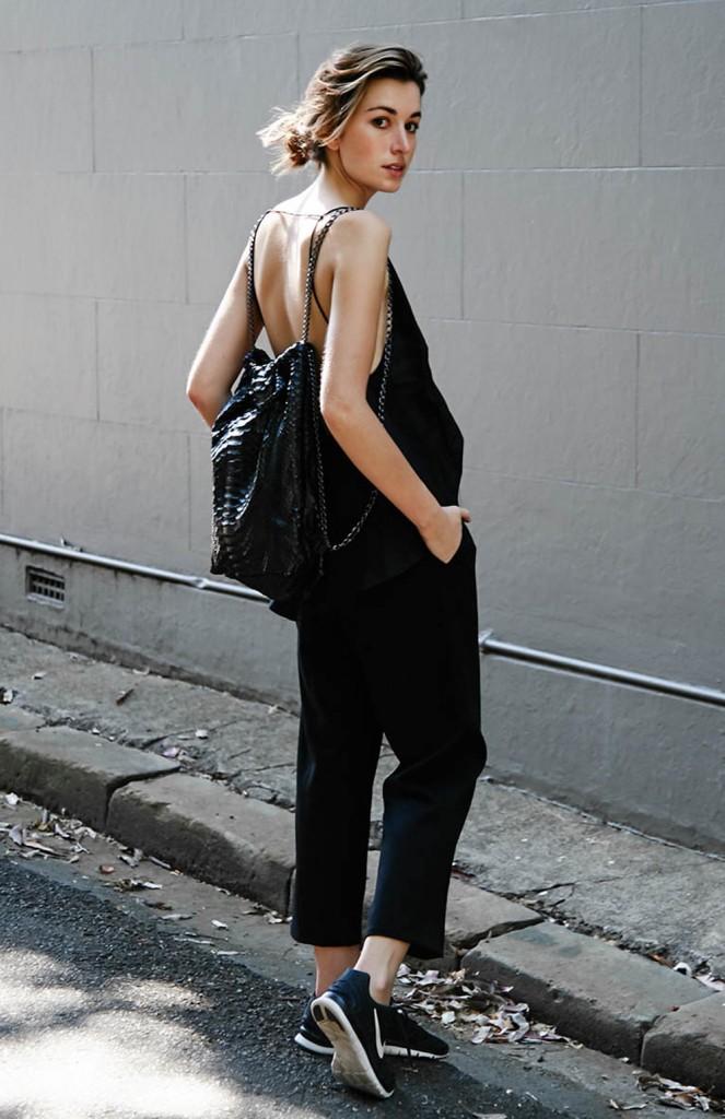 Carmen Hamilton, monochrome, décontracté, simple, noir, backpack