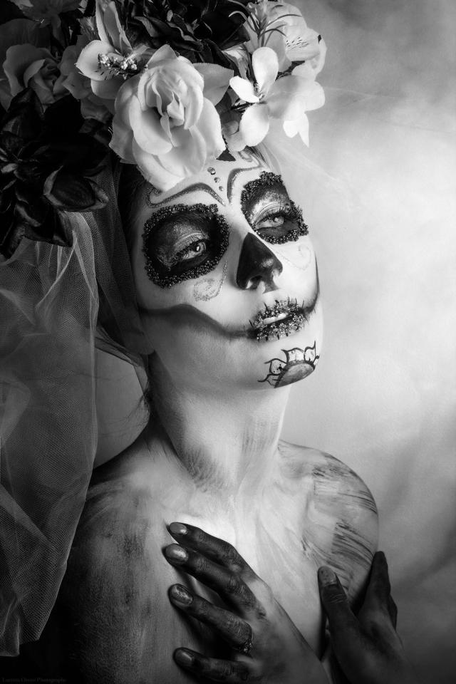 Sugar Skull, maquillage, halloween, poupée