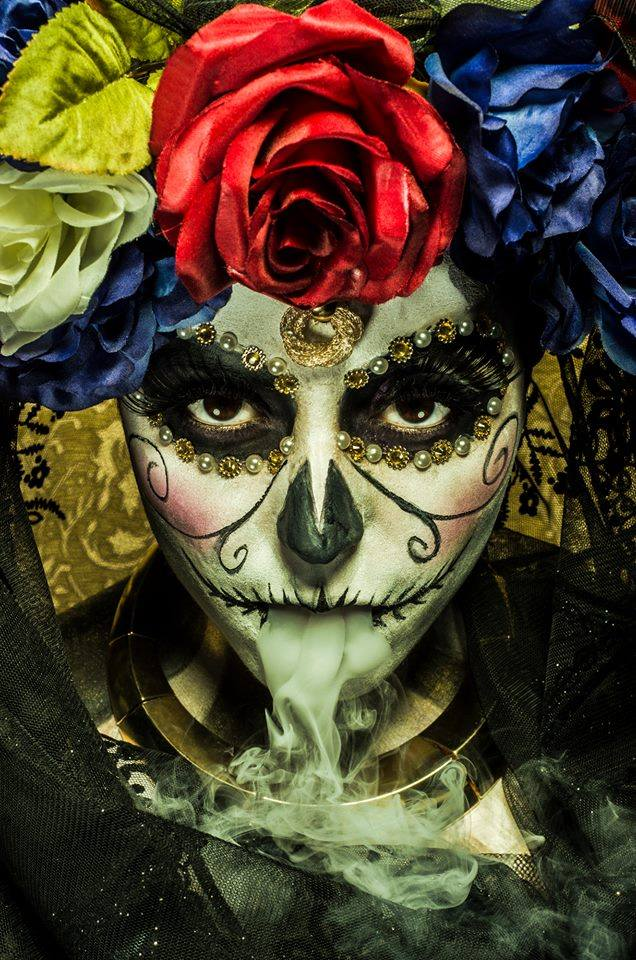 maquillage, halloween, sugar skulls
