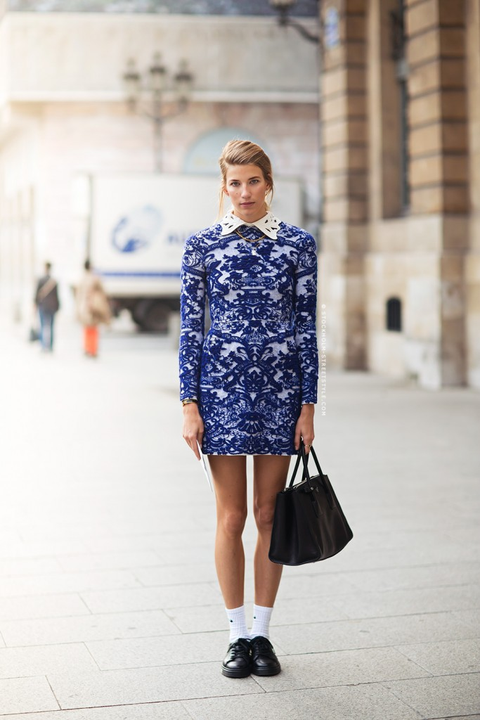 Veronika Heilbrunner, mode, tendance, streetstyle, robe, bleue