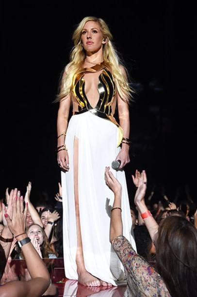 r9sy8m-l-610x610-ellie+goulding-dress-gold-white+dress-white-maxi+dress-beautiful-goddess-goddess+dress-metal-metallic-shaped-style-ball+gown+dresses