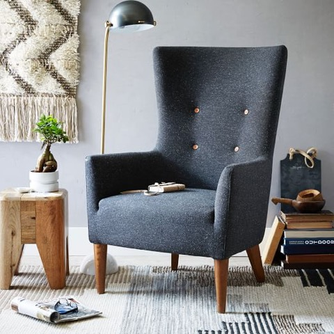 chaise, bleu, salon, décoration, espace