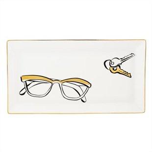 plateau, essentiels, lunettes, clés, kate spade, décoration, inspiration
