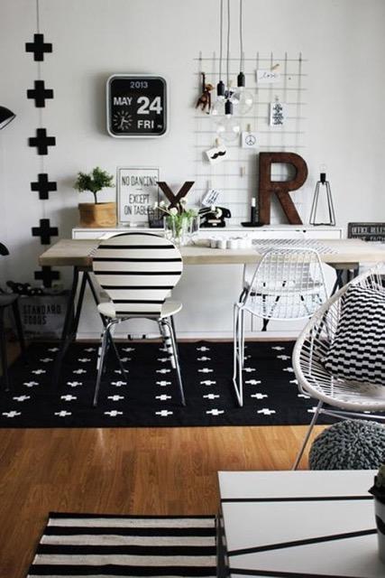 bureau, chaise, éclectique, rayures, motifs, décor, inspiration