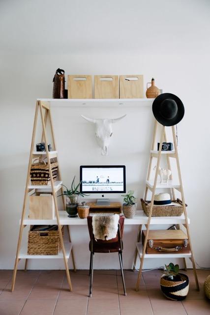 bureau, corne, bois, épuré, blanc, inspiration, décoration