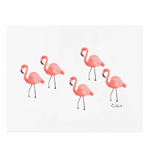 art print, flamant rose, décoration, murale, inspiration
