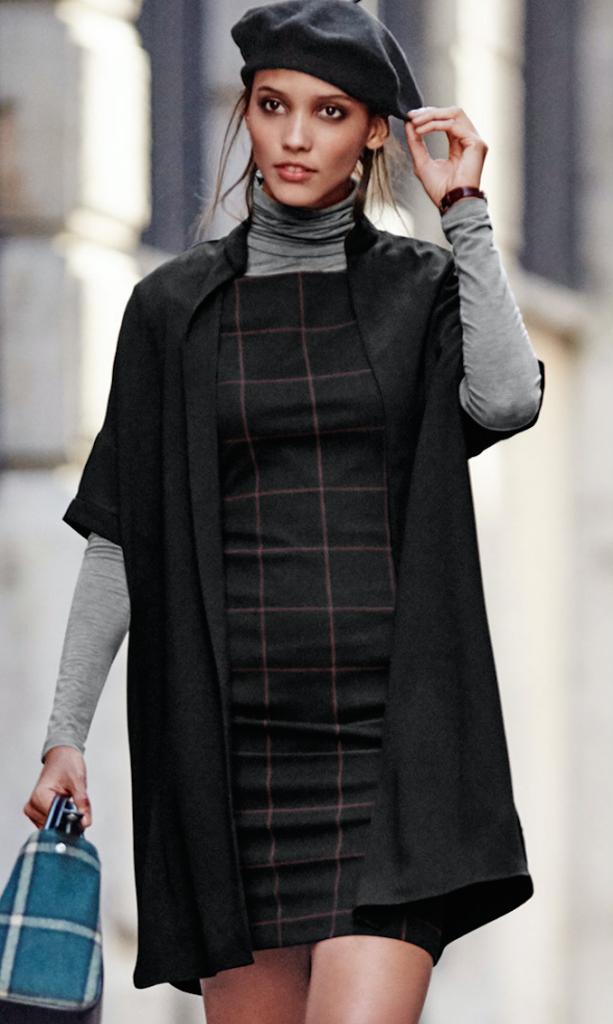 robe, tartan, layering, mode, automne