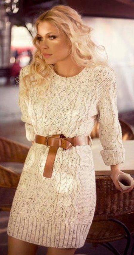 tricot, robe, hiver, tendance, crème, ceinture