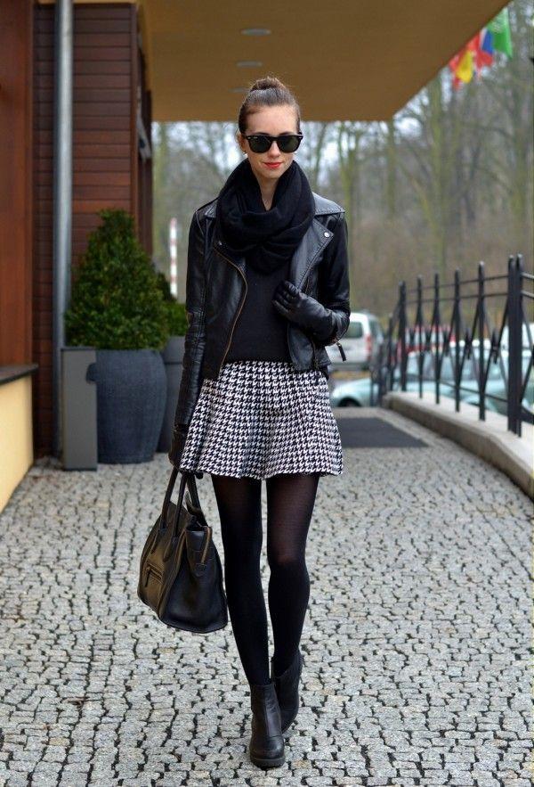 robe, noir, blanc, collants, tendance, mode, hiver,
