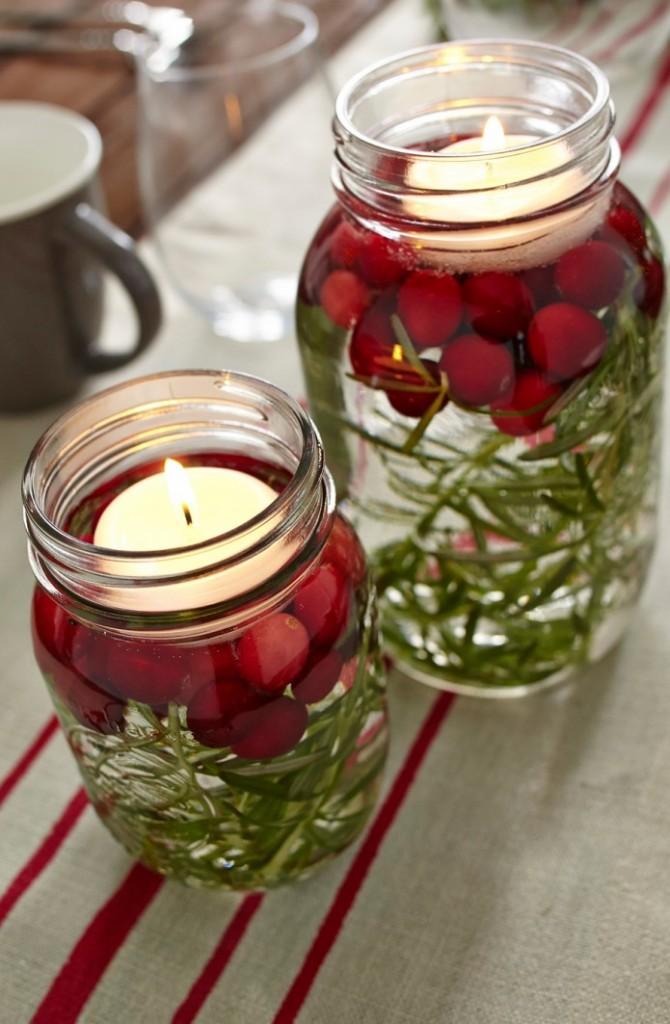 Table, décoration, pot masson, fêtes, Noël, réveillon