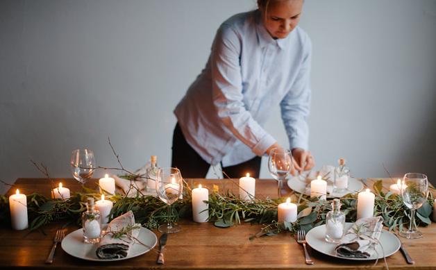 table, branches, fêtes, Noël, chandelles, ambiance, réveillon