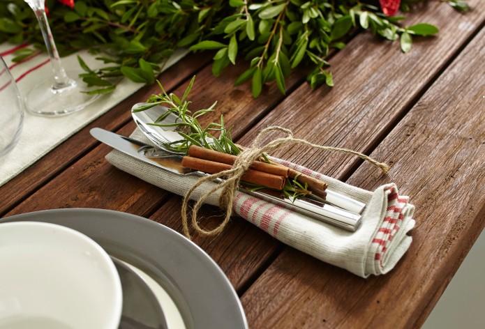 serviette, ustensile, décoration, table des fêtes, Noël, réunion, famille