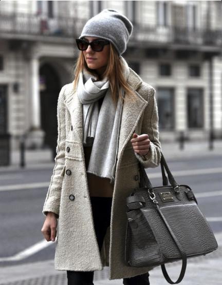tuque, gris, chic, bureau, look, tendance, hiver