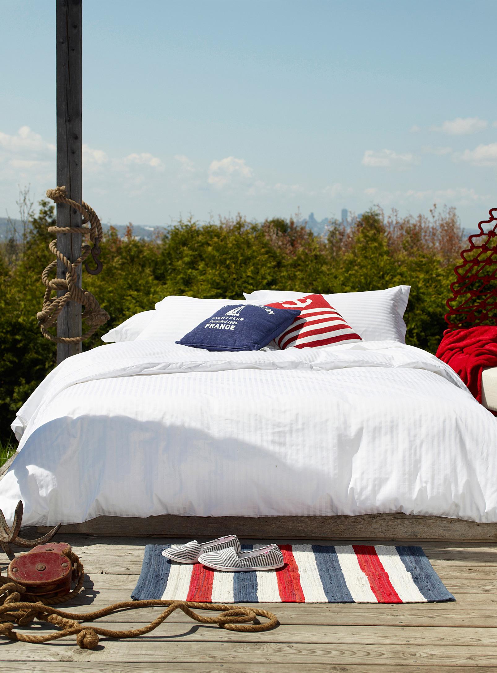 chambre à coucher, housse de couette, blanc, maison, décoration, nautique