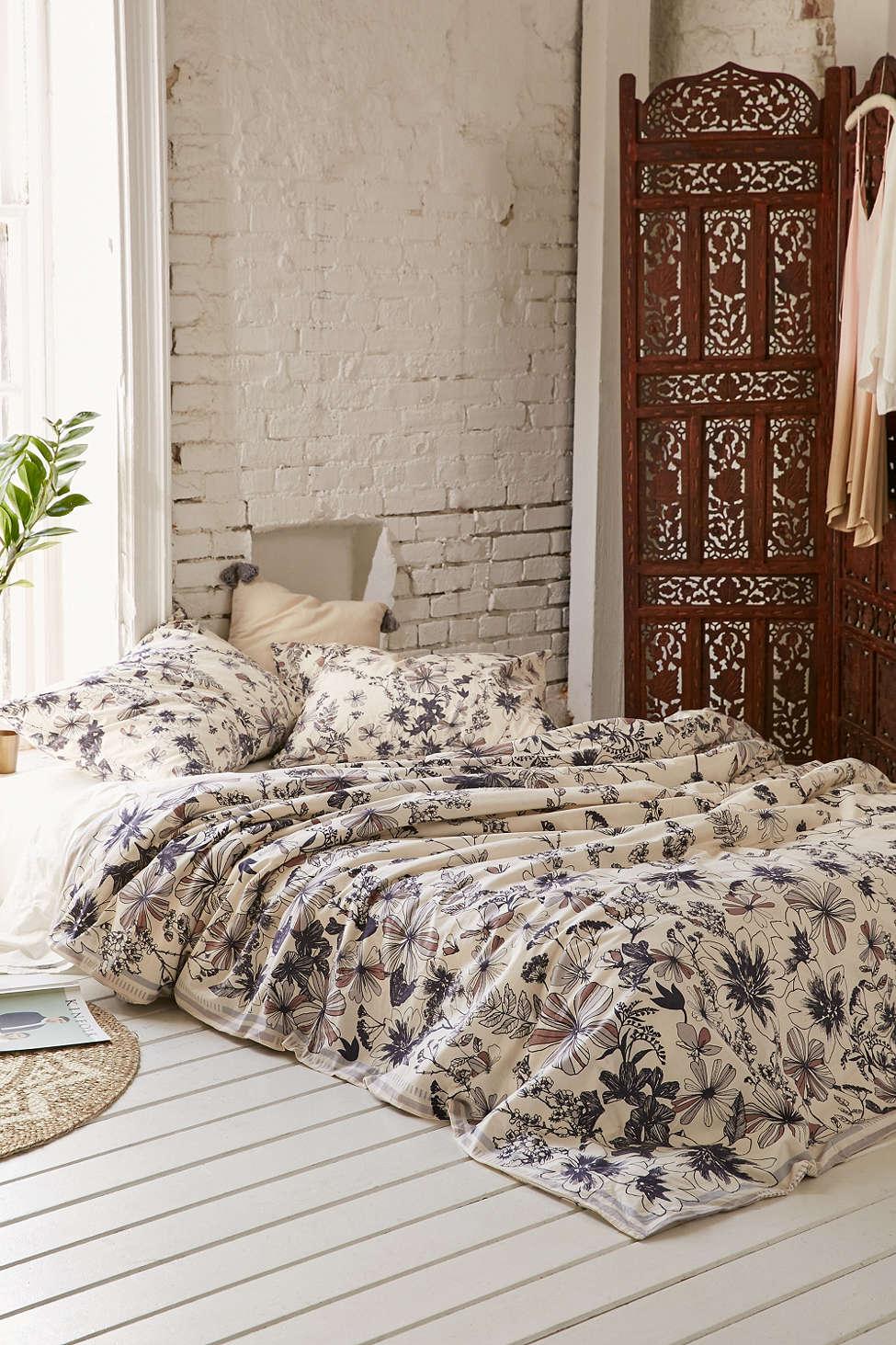 chambre à coucher, housse de couette, fleur, maison, décoration