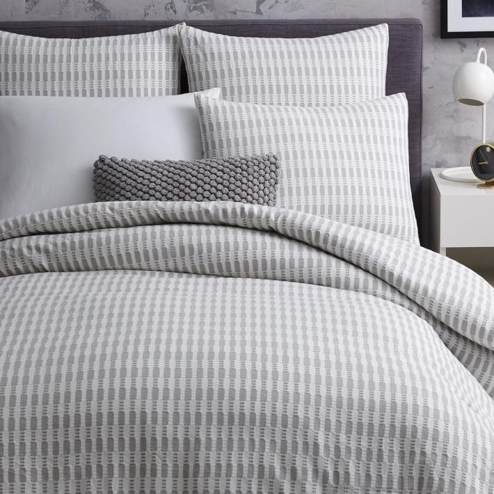 chambre à coucher, housse de couette, gris, rayure, maison, décoration