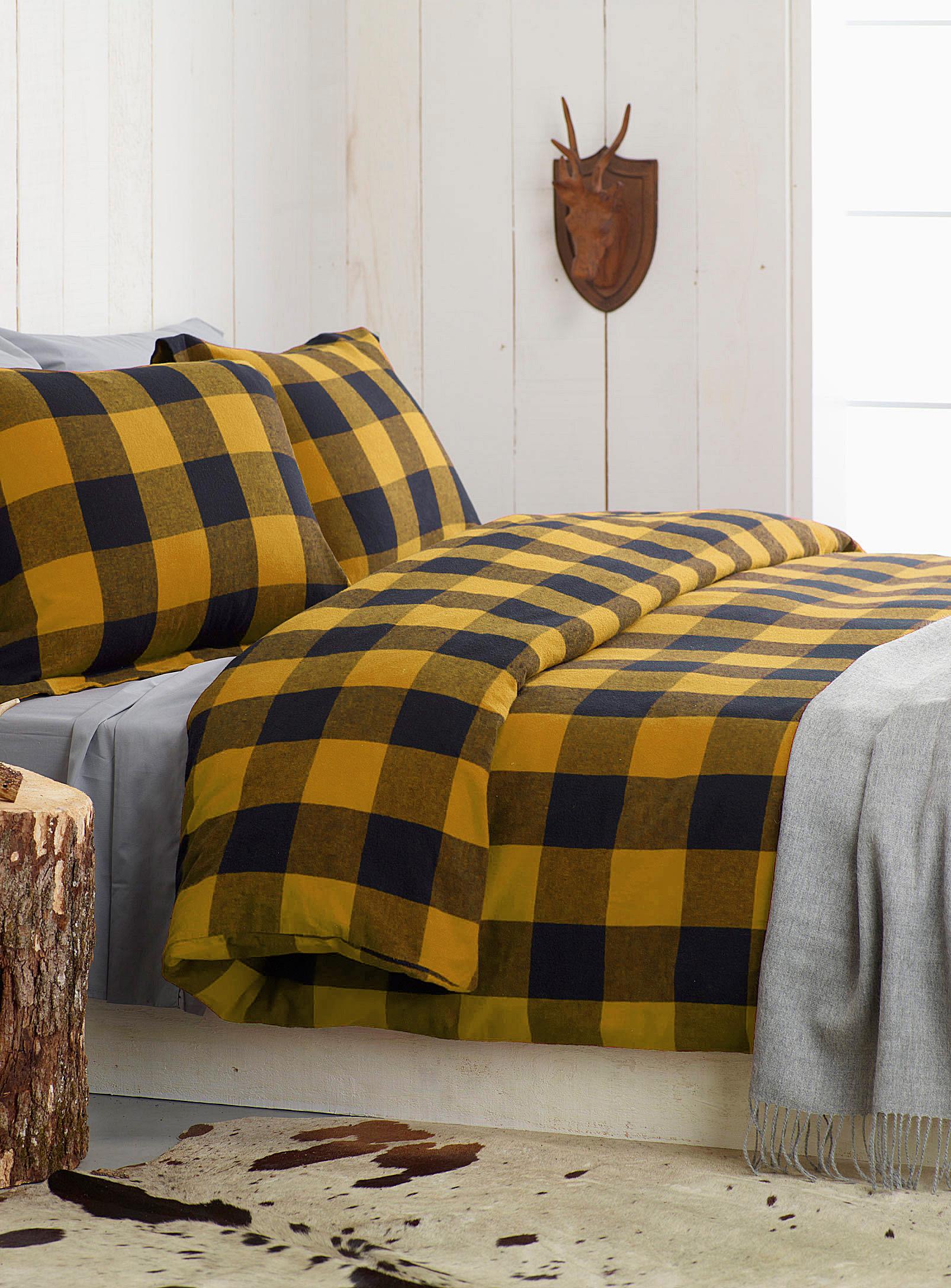 chambre à coucher, housse de couette, jaune, carreau, décoration, maison
