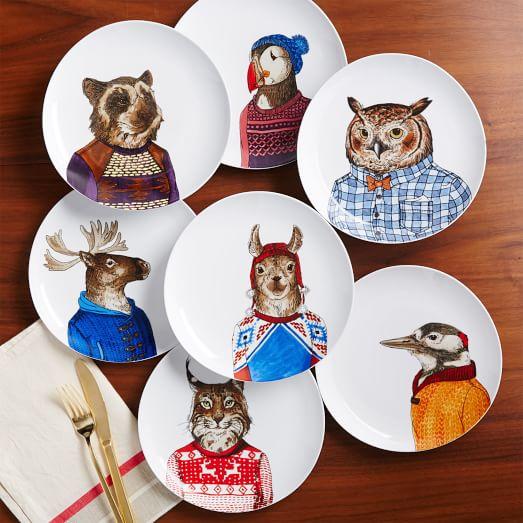 animaux, vaisselle, cuisine, déco, tendance, cerf, renard, hiboux