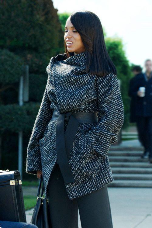 Kerry Washington, manteau, look, street style, style de star, automne