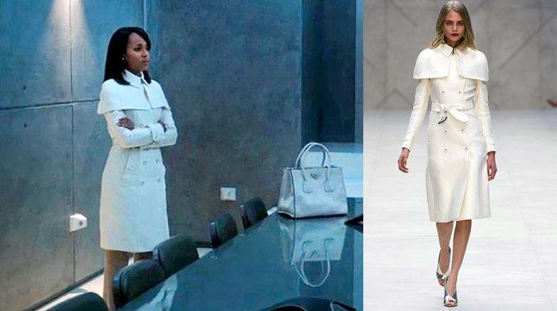 Kerry Washington, blanc, manteau, burberry, Olivia Pope, Scandal, series, ABC