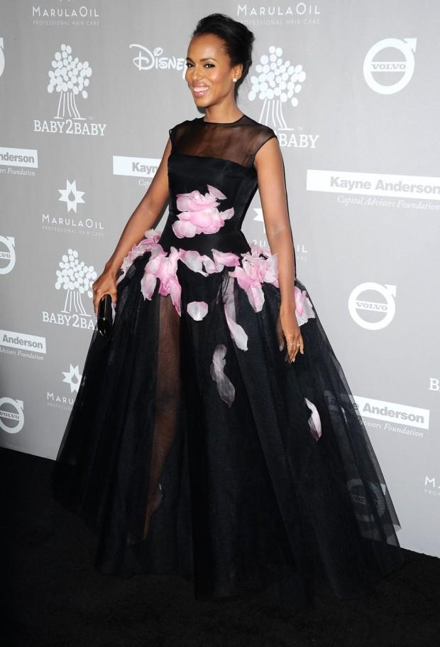 Kerry Washington, baby2baby, red carpet, robe noire, gala, star