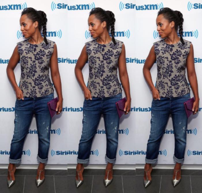 Kerry Washington, Scandal, Tapis rouge, look, décontracté, casual, jeans, top