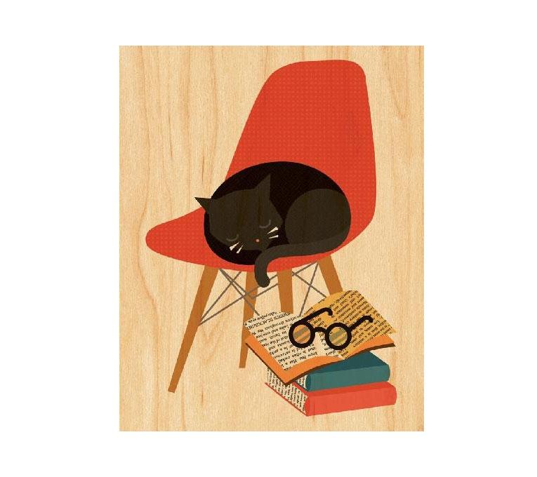impression sur bois, déco, chat