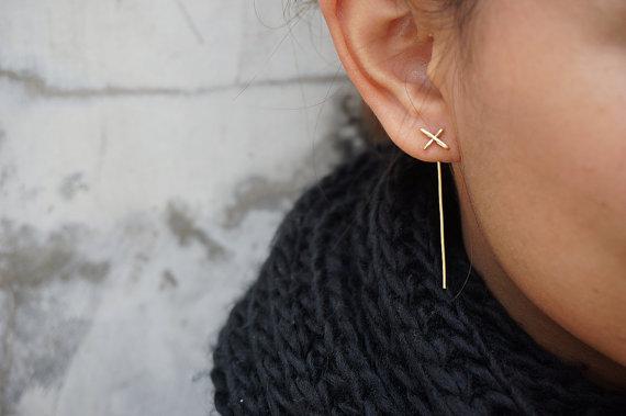 boucle d'oreille, minimaliste, bijoux, accessoire
