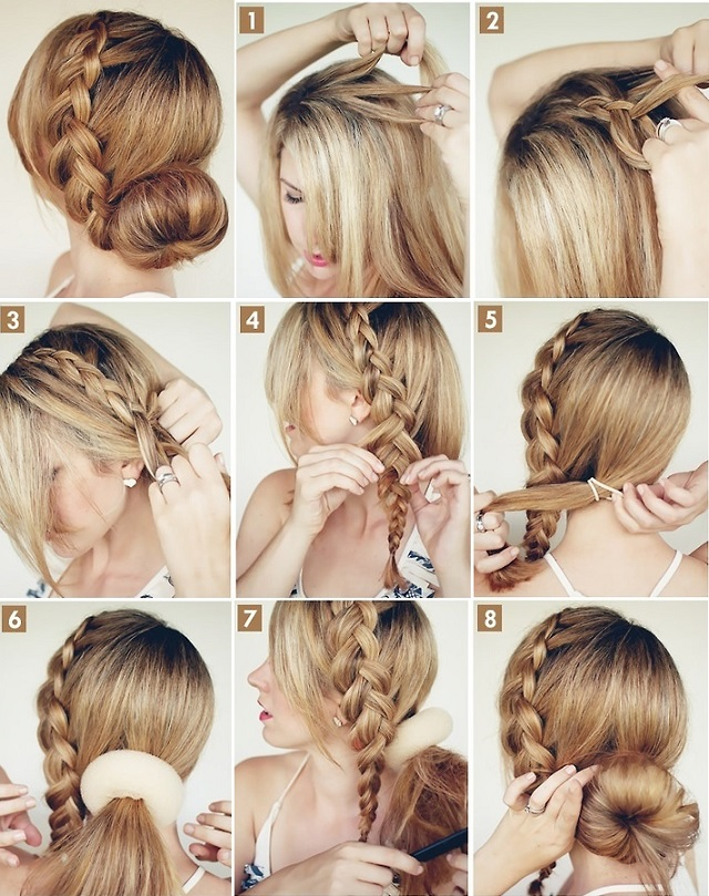 big braided bun, elegant hairstyle 2