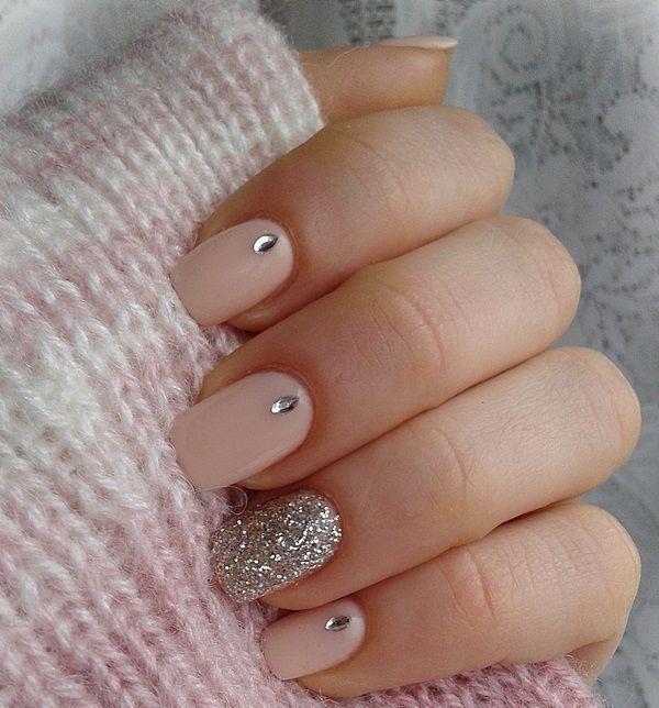Glittery Nude Nail Design