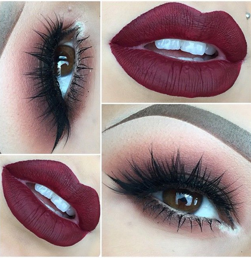 Gorgeous Red Hot Lips and Beautiful Eye Makeup