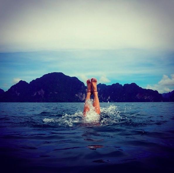 vague, eau, fun, voyage