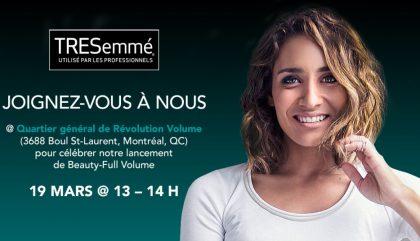 Rejoignez Camille et TRESemmé ce samedi!