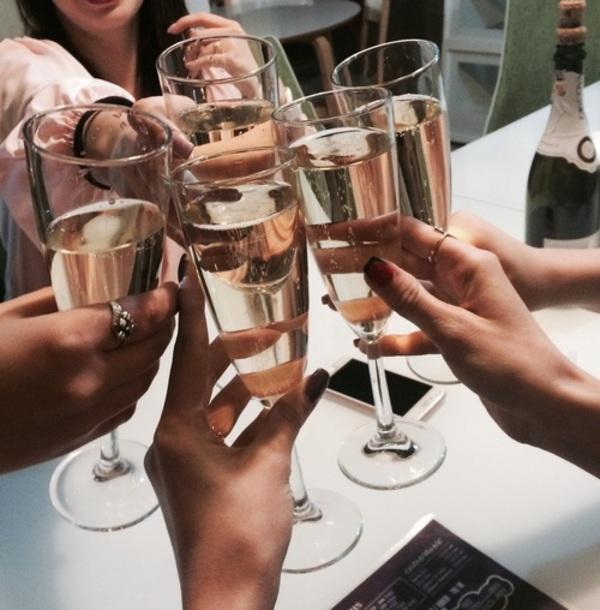 champagne, amie, plaisir, soirée