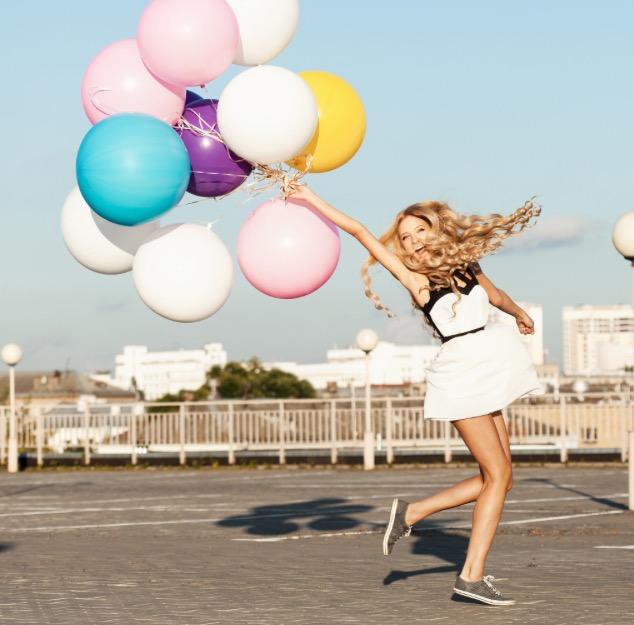 bonheur, cool , ballon, fille, heureuse