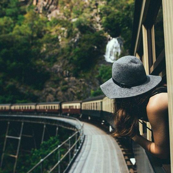 voyage, fille, fun, enjoy