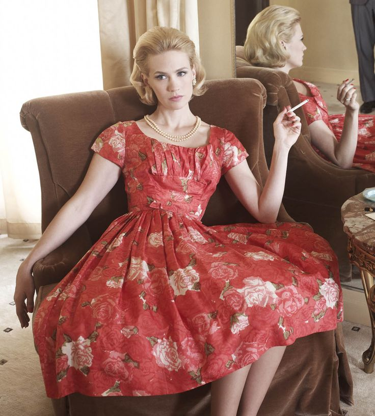 betty draper, mad men, tv show, télévision, tv, émission télévisée, mode, fashion, red dress, robe rouge
